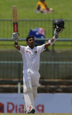 Sri Lanka's Kusal Mendis celebrates scoring his maiden century.