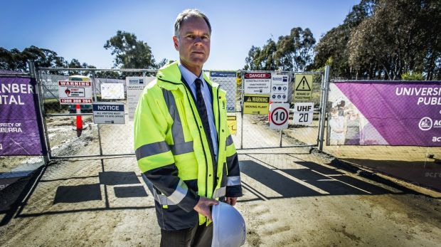 ACT Work Safety commissioner Greg Jones at the University of Canberra public hospital work site, where a construction ...