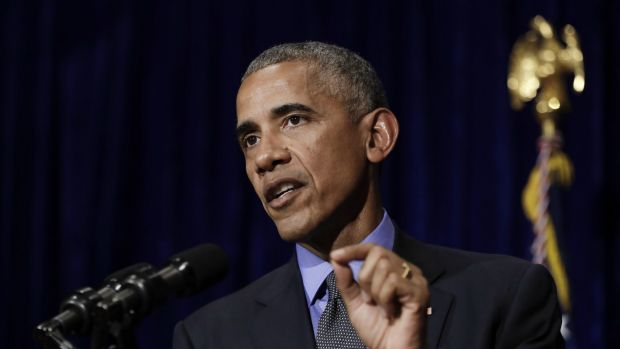 Barack Obama speaks during a news conference in Vientiane, Laos.