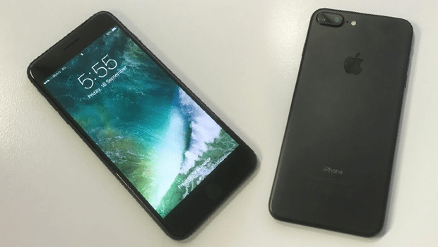 The iPhone 7 Plus in matte black.