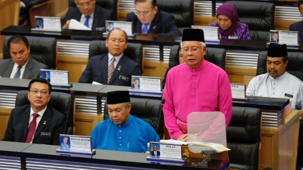 Malaysian Prime Minister Najib Razak (in pink) delivers Malaysia's 2017 budget to parliament in Kuala Lumpur in October.