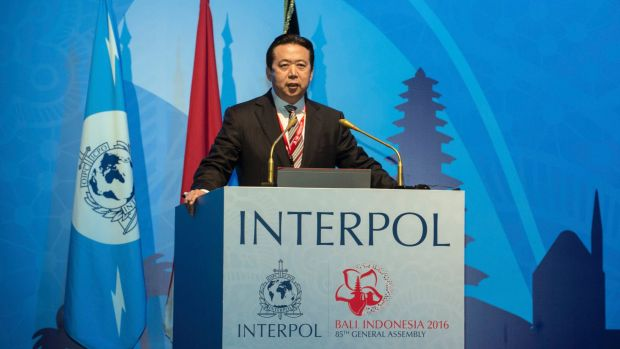 China's Vice Minister of Public Security Meng Hongwei speaks at Interpol's general assembly in Bali on Thursday. Photo: Xinhua/AP. Meng was just elected as the President of Interpol