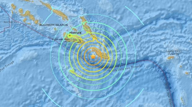 Map showing the epicentre of the Friday morning's earthquake.