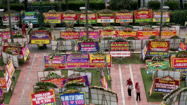 Flower boards sent to Ahok after his loss in the gubernatorial election.