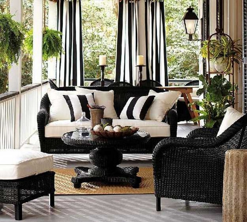 Black And White Wicker Chairs Cushions