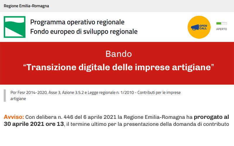 Contributi alle imprese artigiane: dalla Regione Emilia-Romagna 5,5 milioni per la digitalizzazione, proroga al 30 aprile 2021 per presentare domanda