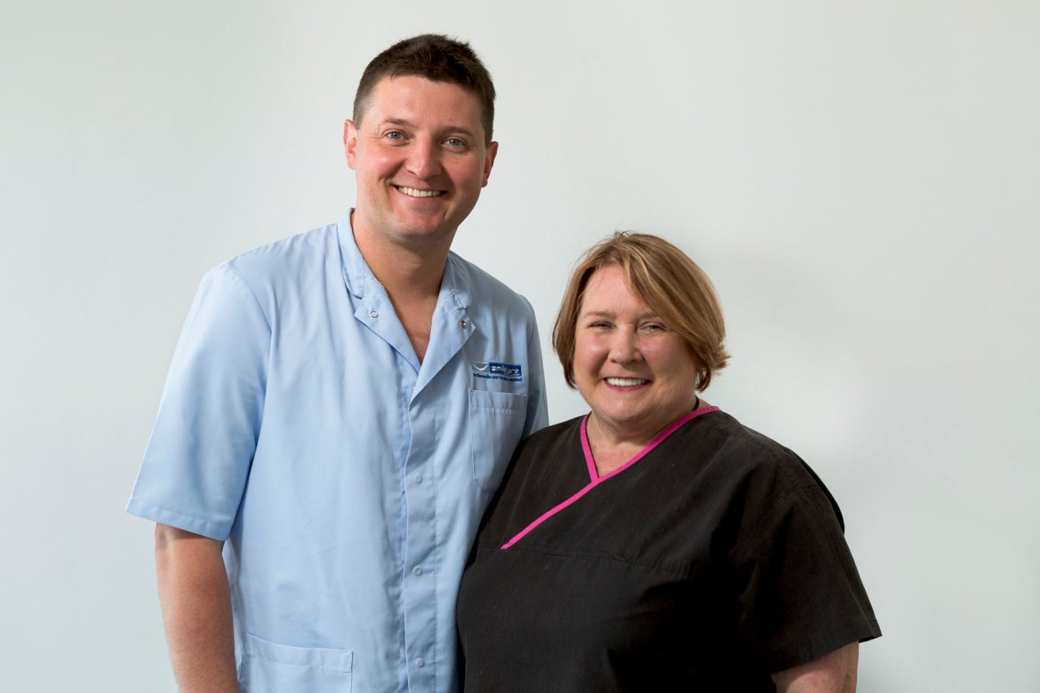 Dr Rafal Topolski Practice Principal and Jan Baxendale, Dental Hygienist GDC no 1514