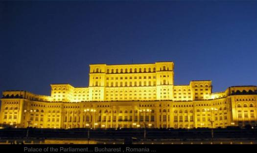 Palace of the Parliament... Bucharest , Romania ...  more than 500 bedrooms, 55 kitchens,120 sitting rooms