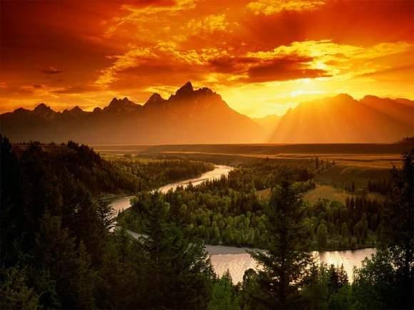 Beautiful Sunset between mountains
