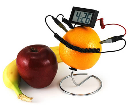 Fruit-Powered Clock