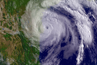 Warmer waters increase the likelihood of violent storms. Hurricane Dolly swept over the Texas-Mexico border in  July 2008.