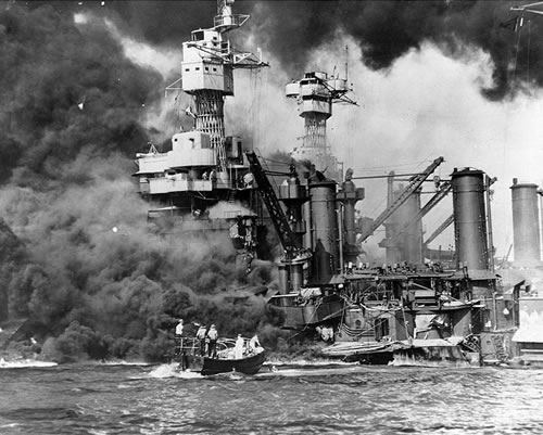 Rescuing survivor near USS West Virginia during the Pearl Harbor attack.