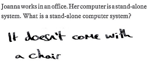 Jonna works in an office. Her computer is stand-alone system. What is a stand-alone computer system?