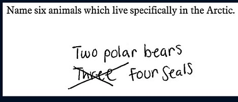 Name six animals which live specifically in the Artic.