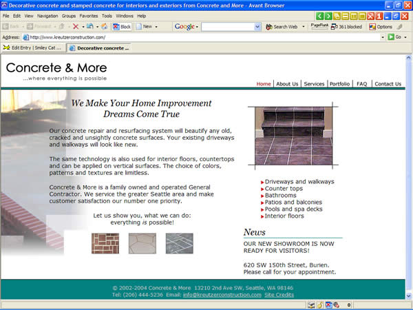 Concrete and More website after redesign