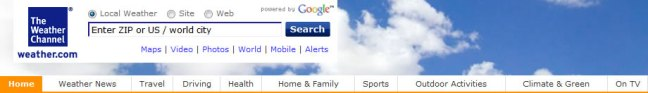 Weather Channel website navigation: new