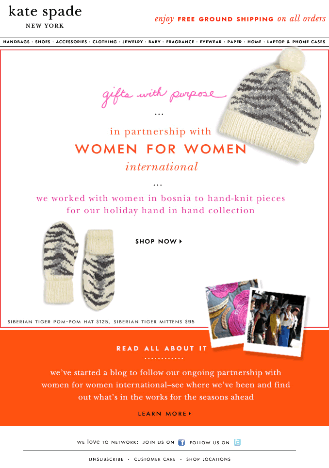 Gifts with Purpose Kate Spade email