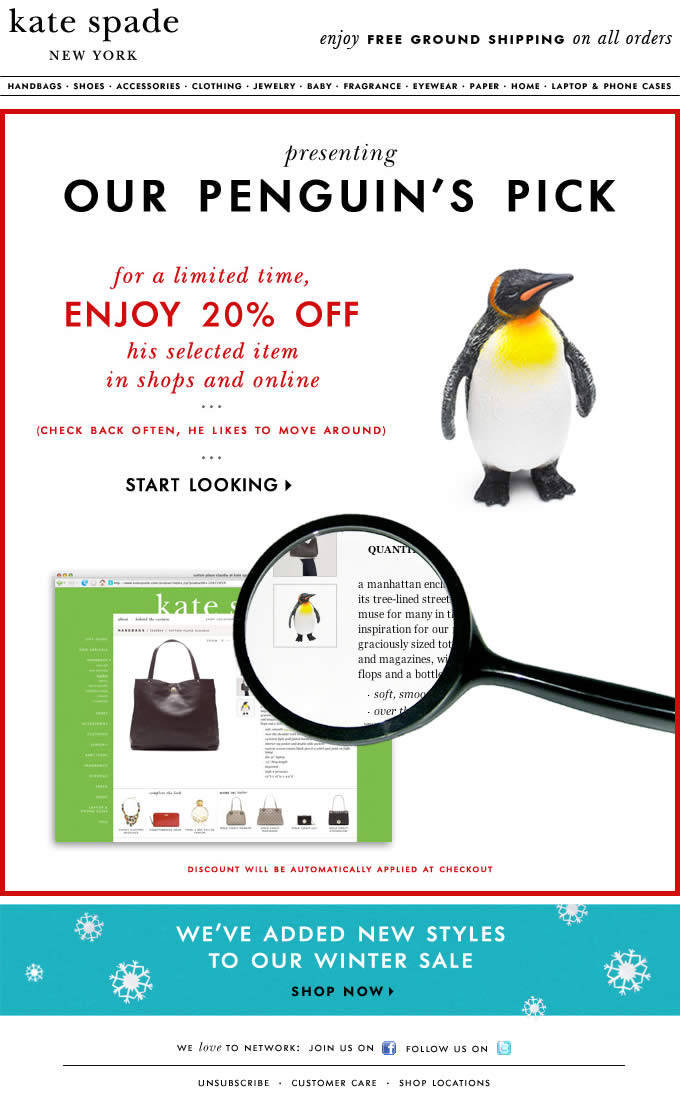 Our Penguin's Pick Kate Spade email