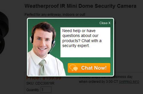 Online chat proactive pop-up window