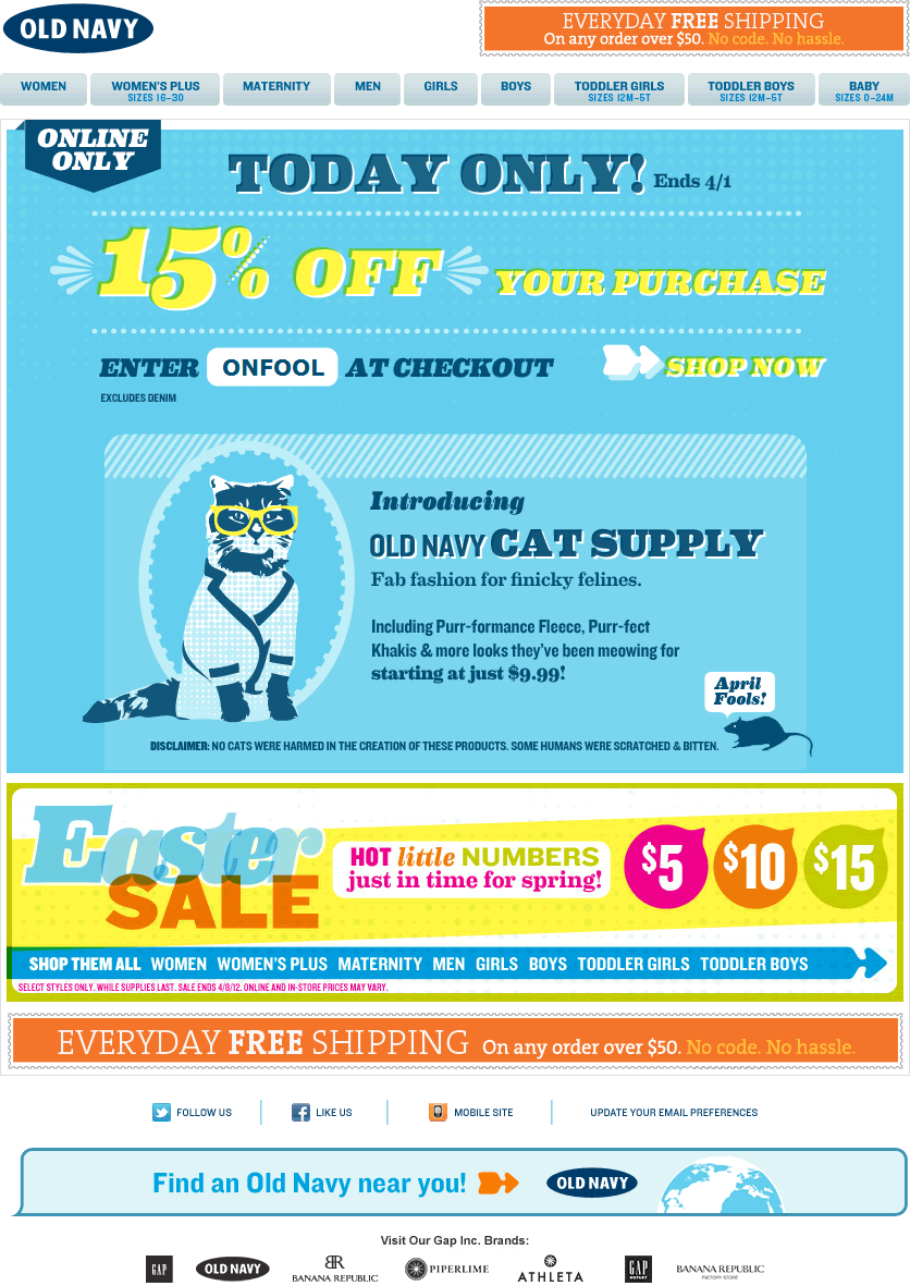 Old Navy email design: Cat Supply