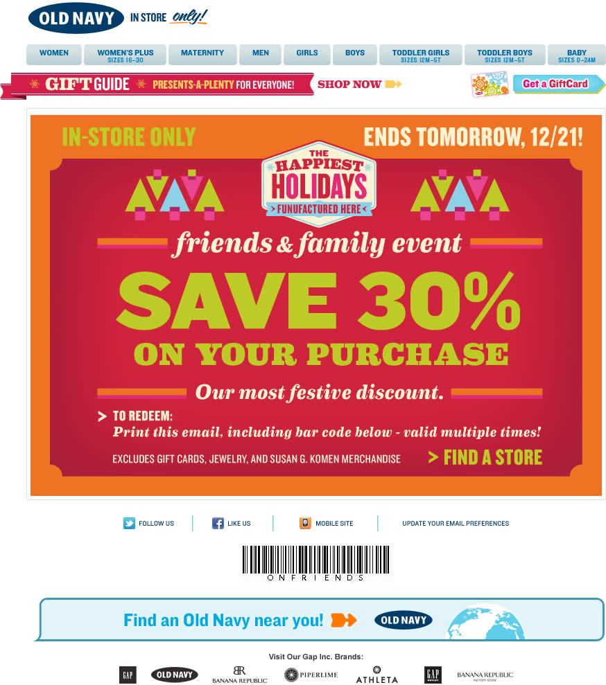 Old Navy email design: Friends and Family
