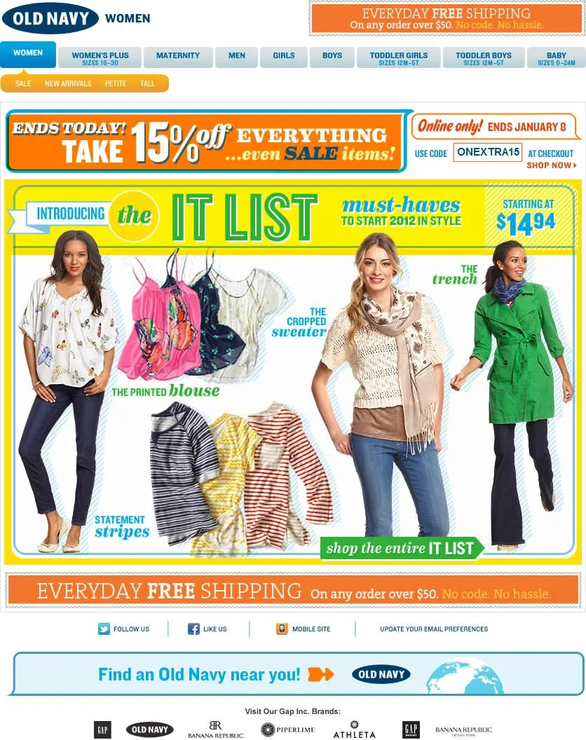 Old Navy email design: The It List