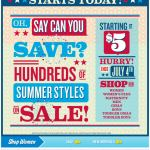 Old Navy email design: July 4th Sale