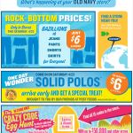 Old Navy email design: Rock Bottom Prices