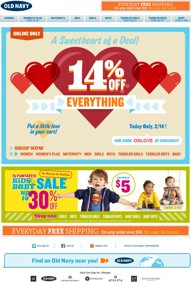Old Navy email design: Valentines Day