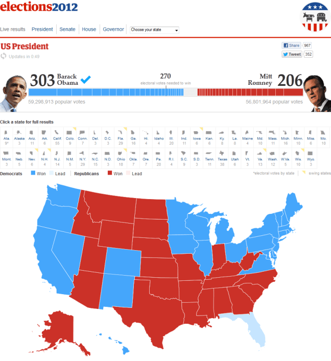 The Guardian 2012 US Presidential Election Results Map