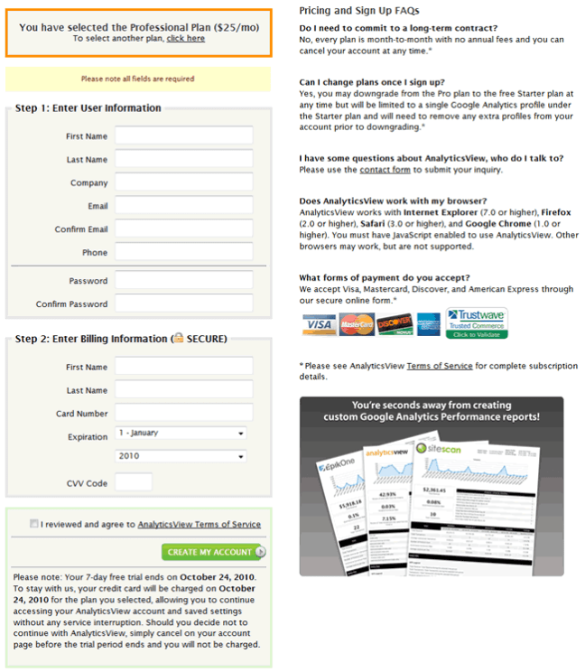 AnalyticsView signup form design example