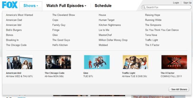FOX Broadcasting Company mega menu design example