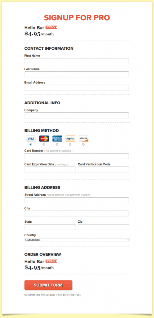 The Hello Bar online signup form design example