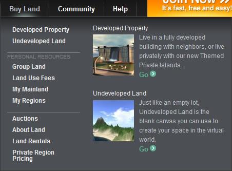 Second Life mega menu design example