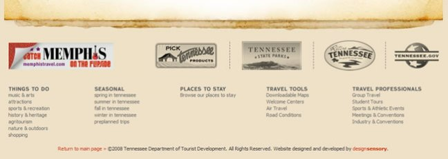 Tennessee Vacation website footer design example