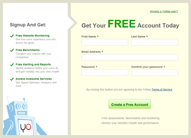 Yottaa online signup form design example