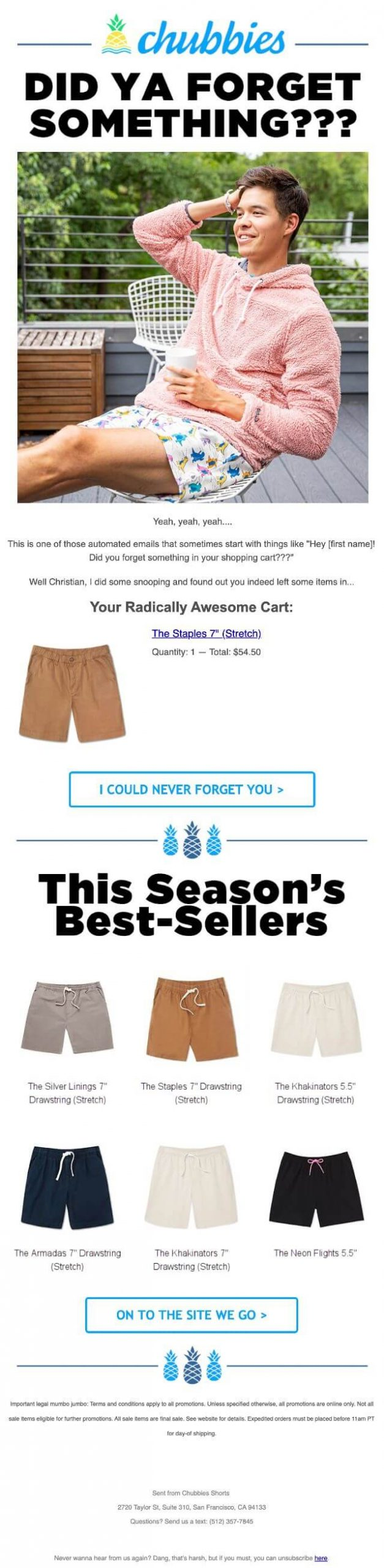 Chubbies abandoned cart email