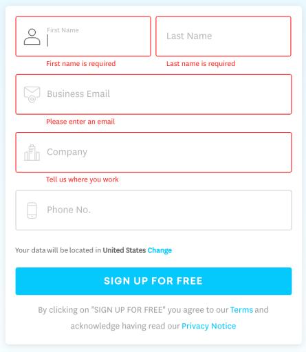 Freshservice online form error message example