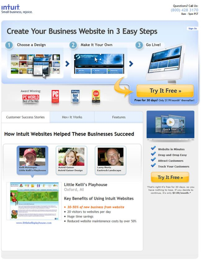 Intuit Websites landing page design example