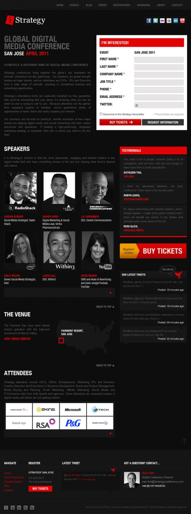 iStrategy Global Digital Media Conference landing page design exammple