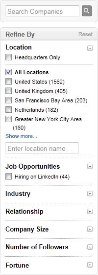 LinkedIn faceted navigation design example