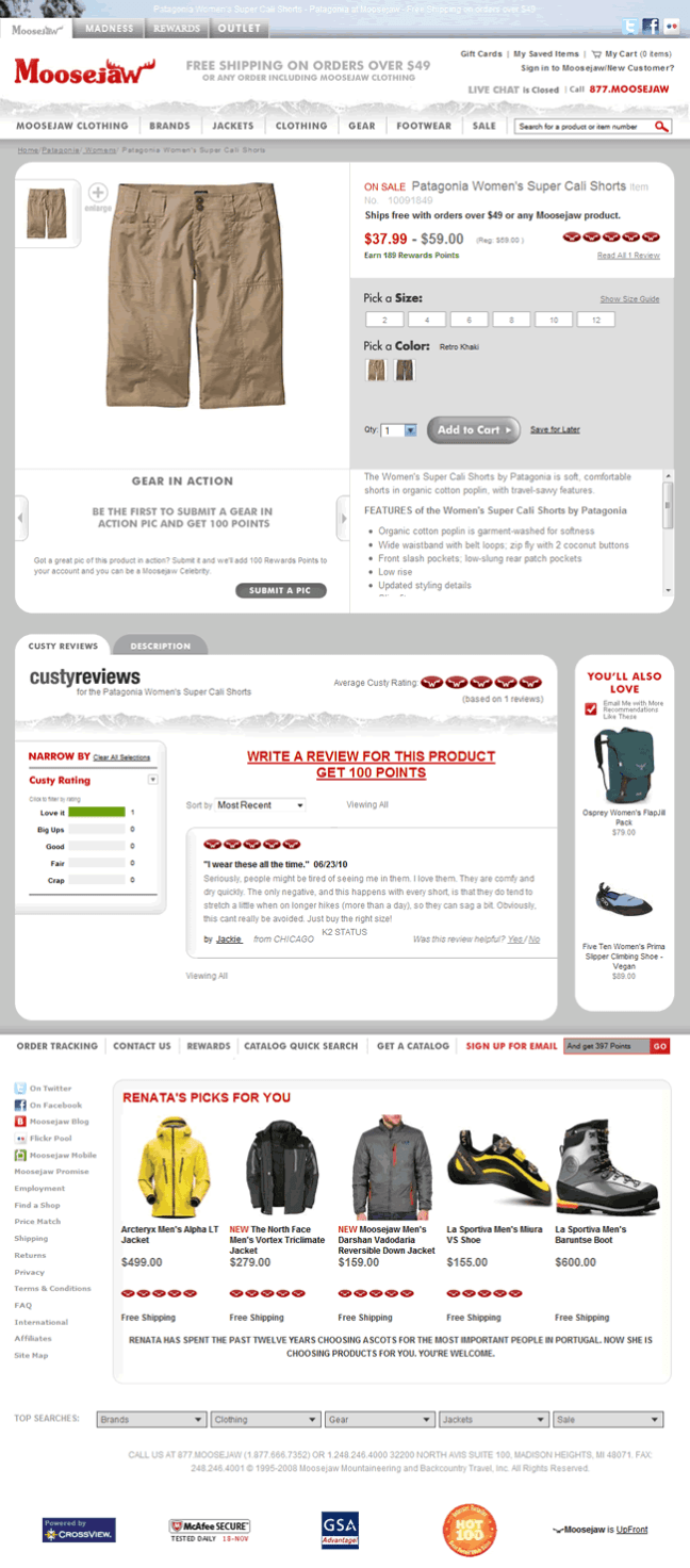 Moosejaw ecommerce product page design example