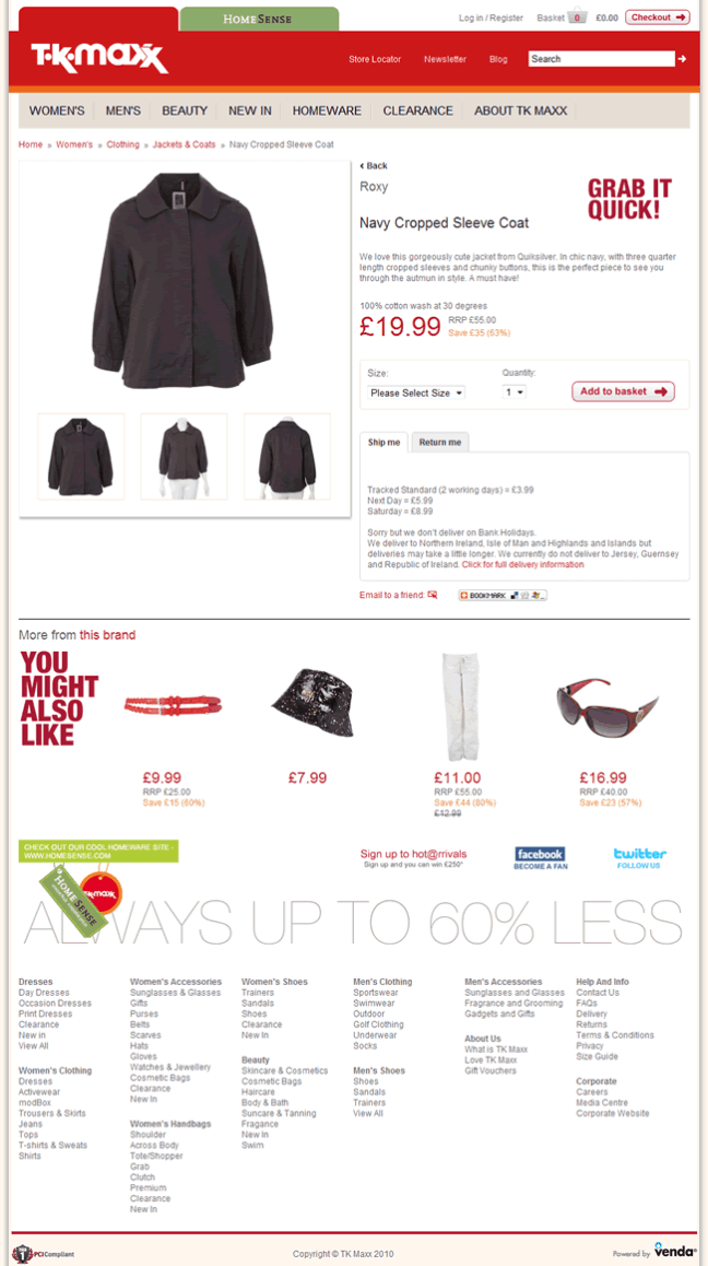 TK Maxx ecommerce product page design example