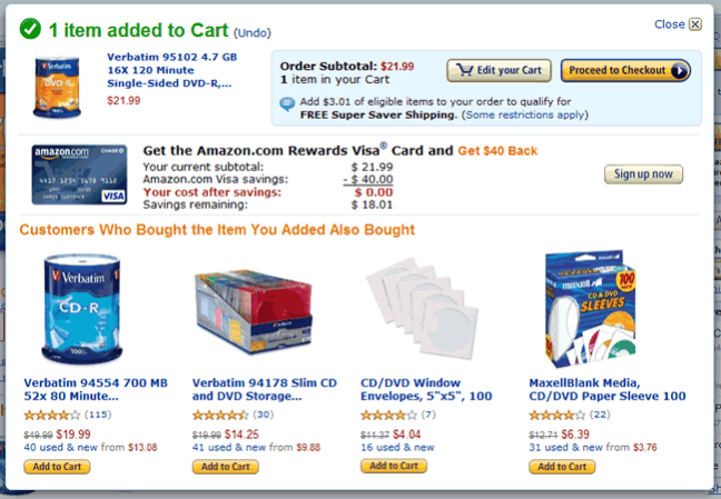 Amazon mini shopping cart design example