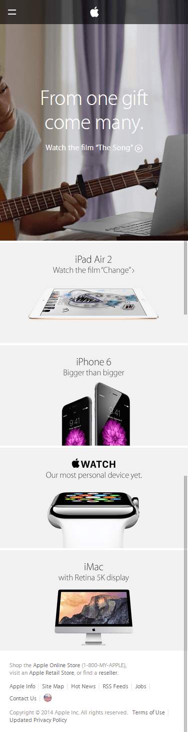 Apple mobile ecommerce home page design example