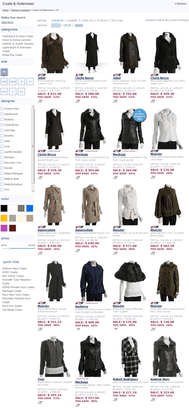 Bluefly ecommerce gallery page design example