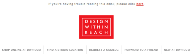 Design Within Reach email header design example