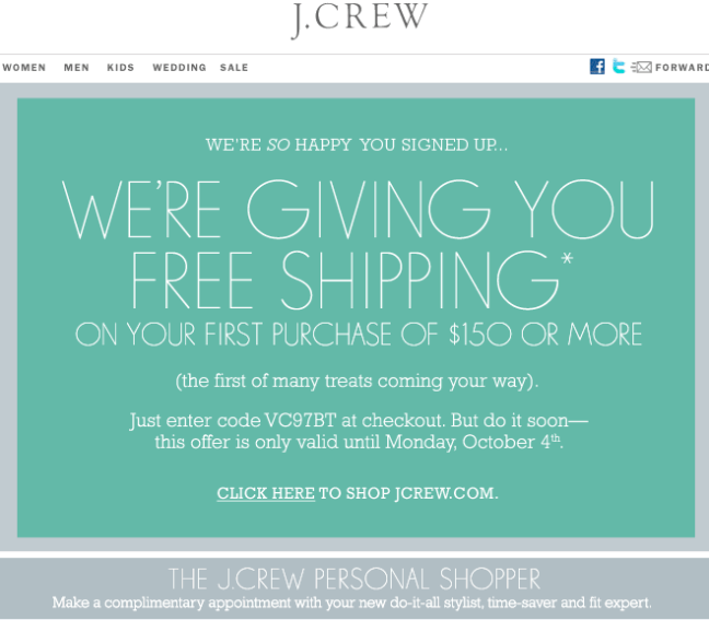 J. Crew welcome email design example