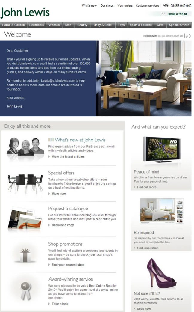John Lewis welcome email design example
