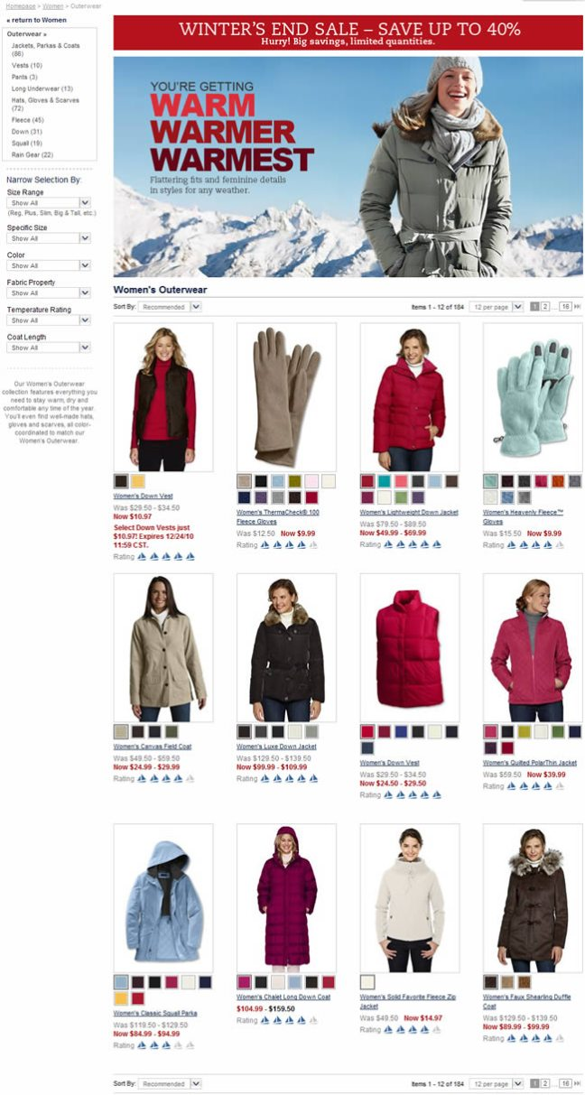 Land's End ecommerce gallery page design example